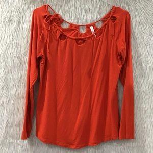 Fabletics orange long sleeve shirt size medium
